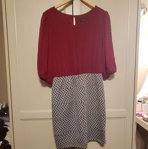Maroon and black and white dress